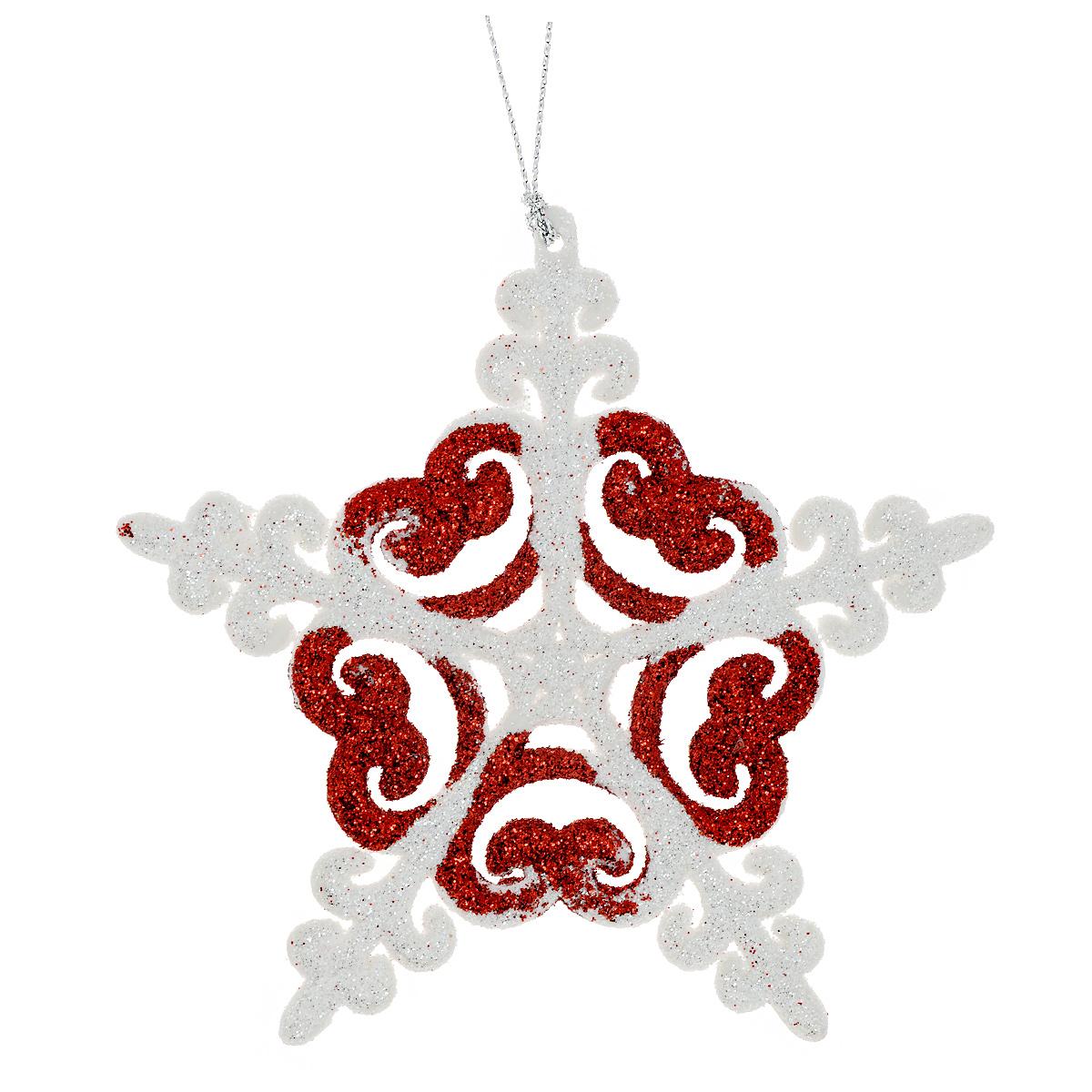 Новогоднее подвесное украшение Снежинка, цвет: красный, диаметр 12 см. 3498109840-20.000.00Оригинальное новогоднее украшение из пластика прекрасно подойдет для праздничного декора дома и новогодней ели. Изделие крепится на елку с помощью металлического зажима.