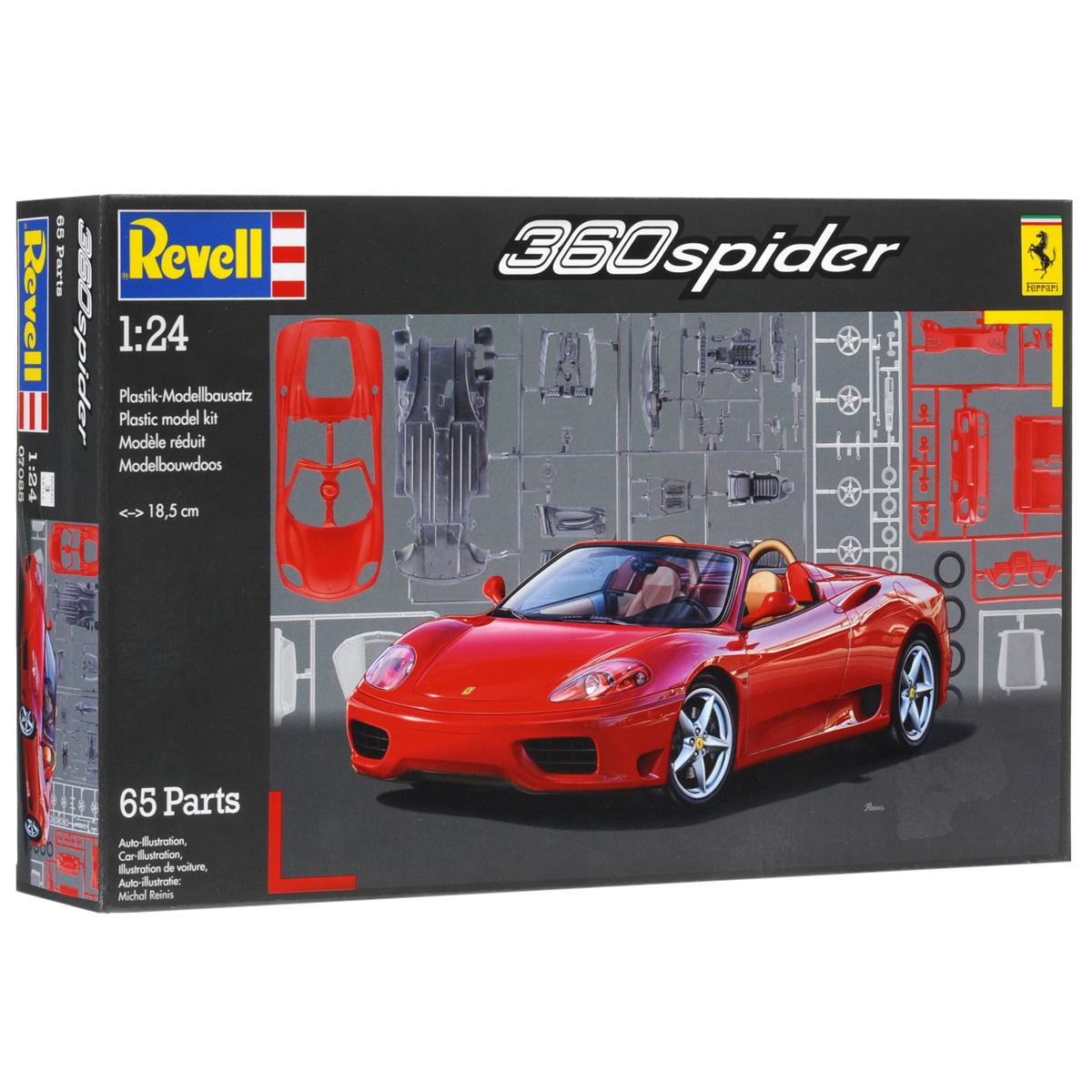 """Сборная модель Revell """"Автомобиль Ferrari 360 Spider"""" поможет вам и вашему ребенку придумать увлекательное занятие на долгое время. Набор включает в себя 65 пластиковых элементов, из которых можно собрать достоверную уменьшенную копию одноименного автомобиля. Машина была впервые представлена публике в 2000 году. Spider удачно сочетает в себе агрессивный спортивный дизайн с вместительностью и комфортом. Низкопрофильный кабриолет достигает всего 1,21 м в высоту. Автомобиль имеет превосходную управляемость, которая гарантирует даже неопытному водителю безупречное прохождение самых крутых поворотов. Кроме того, этот автомобиль мечты оснащен мягкой крышей, которая убирается всего за 20 секунд. В свою очередь 3,6-литровый 8-цилиндровый двигатель мощностью 400 лошадиных сил позволяет разгонять Ferrari 360 Spider до 290 км/час. Также в наборе схематичная инструкция по сборке. Процесс сборки развивает интеллектуальные и инструментальные способности, воображение и..."""