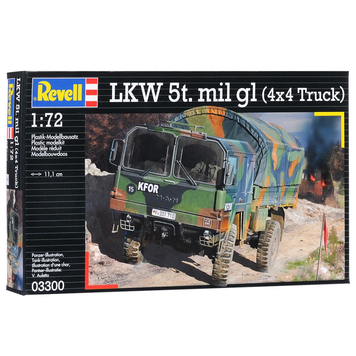 """Сборная модель Revell """"Грузовик LKW 5t. mil gl"""" поможет вам и вашему ребенку придумать увлекательное занятие на долгое время. Набор включает в себя 110 пластиковых элементов, из которых можно собрать достоверную уменьшенную копию одноименного автомобиля. LKW 5t. mil gl - это современный армейский грузовик, состоящий на вооружении немецкой армии. Двигатель V8 мощностью 256 л.с. позволяет развивать скорость до 90 км/ч. А подвеска 4x4 помогает преодолевать любое бездорожье. Также в наборе схематичная инструкция по сборке. Процесс сборки развивает интеллектуальные и инструментальные способности, воображение и конструктивное мышление, а также прививает практические навыки работы со схемами и чертежами. Уровень сложности: 4. УВАЖАЕМЫЕ КЛИЕНТЫ! Обращаем ваше внимание на тот факт, что элементы для сборки не покрашены. Клей и краски в комплект не входят."""
