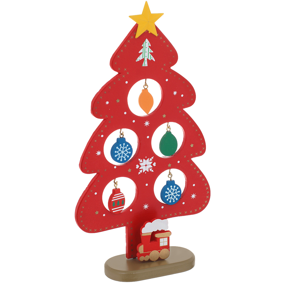 Новогоднее деревянное украшение Елочка, цвет: красный. 35252BH-SI0439-WWОригинальное деревянное украшение Елочка гармонично впишется в праздничный интерьер вашего дома или офиса. Украшение выполнено из древесины тополя в виде красной елочки, которая устанавливается на подставку. На елке имеются металлические крючки для деревянных игрушек. Сверху елочку украшает желтая звезда. Новогодние украшения всегда несут в себе волшебство и красоту праздника. Создайте в своем доме атмосферу тепла, веселья и радости, украшая его всей семьей.