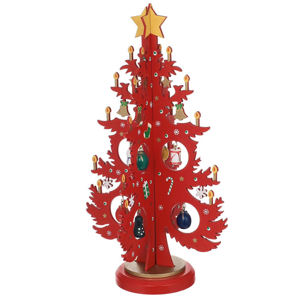 Новогоднее деревянное украшение Елочка со свечами, 25 смИР73371 (389097)Оригинальное новогоднее украшение Елочка со свечами гармонично впишется в праздничный интерьер вашего дома или офиса. Украшение выполнено из дерева в виде новогодней елки с горящими свечами, которая собирается из двух деталей и устанавливается на подставку. На елке имеются металлические крючки, благодаря которым на елку можно повесить елочные игрушки, входящие в комплект.Новогодние украшения всегда несут в себе волшебство и красоту праздника. Создайте в своем доме атмосферу тепла, веселья и радости, украшая его всей семьей.