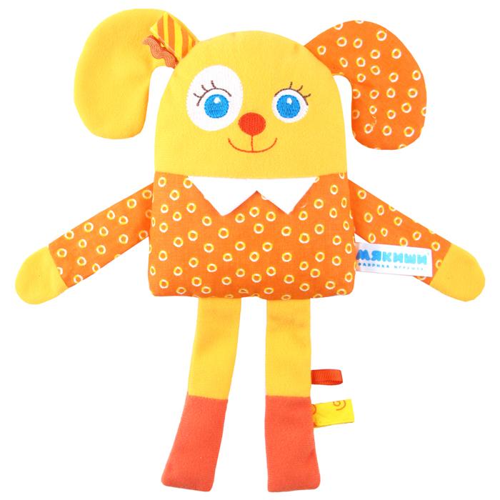 """Развивающая игрушка Мякиши """"Мой щенок"""" подарит вашему малышу чувство теплоты и заботы, ведь ее так приятно обнимать! Она выполнена из текстильных разнофактурных материалов в виде забавного щенка с вышитыми глазками, носиком и ротиком. Внутри щенка находится элемент с гремящими при тряске шариками; в животике спрятан шуршащий элемент. Благодаря петелькам игрушку можно подвесить к коляске, кроватке, автокреслу или игровой дуге. Также щенок удивительно приятен на ощупь, малыш с удовольствием будет держать его в ручках и засыпать с ним. Развивающая игрушка Мякиши """"Мой щенок"""" поможет крохе в развитии зрительного восприятия, мышления, мелкой моторики рук, воображения и эмоционального восприятия."""