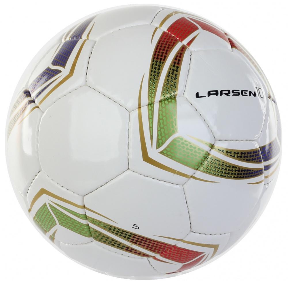 Мяч футбольный Larsen 10. Размер 560637Футбольный мяч Larsen 10 подойдет для игры на всех покрытиях. Он выполнен из синтетической кожи и полиуретана. Глянцевая поверхность. Имеет 4 слоя подкладочного материала - 3 слоя поликоттон и 1 хлопок. Ручная сшивка. 32 панели. Камера выполнена из латекса, с бутиловым ниппелем.Окружность: 68-69 см.