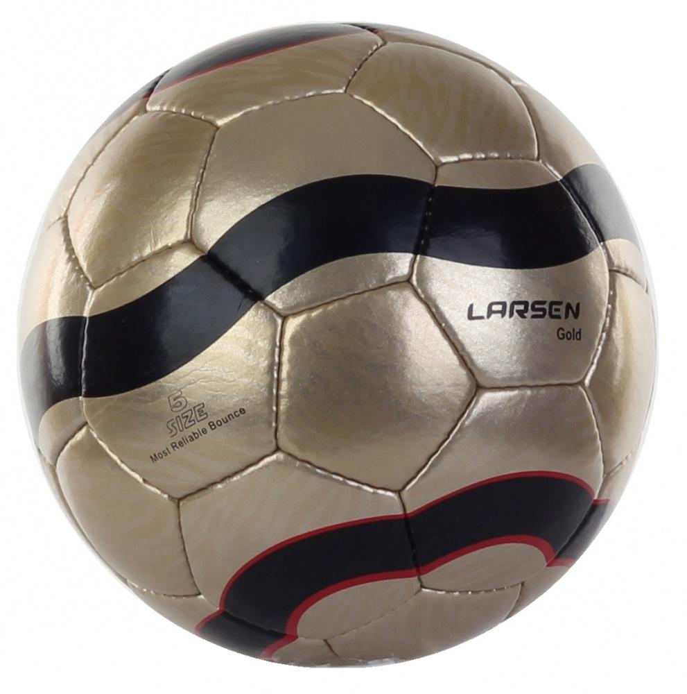 Мяч футбольный Larsen Lux, цвет: золотой. Размер 560637Мяч футбольный Larsen Lux подойдет для игры на всех покрытиях. Он выполнен из синтетической кожи и полиуретана. Глянцевая поверхность. Имеет 4 слоя подкладочного материала - 3 слоя поликоттон и 1 хлопок. Ручная сшивка. 32 панели. Камера выполнена из латекса, с бутиловым ниппелем.Окружность: 68-69 см.