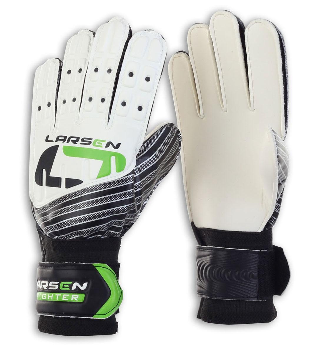 Перчатки вратарские Larsen Fighter, цвет: черный, зеленый. Размер 8