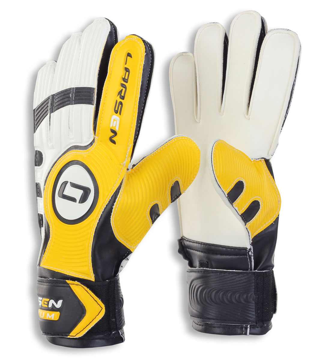 Перчатки вратарские Larsen  Radium , цвет: черный, желтый. Размер 6 - Футбол