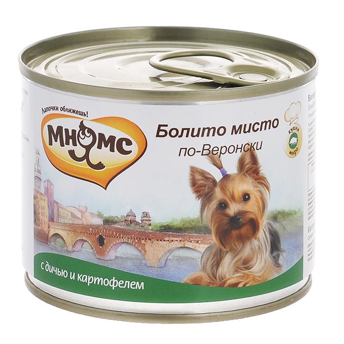 Консервы для собак Мнямс Болито мисто по-Веронски, с дичью и картофелем, 200 г24Полнорационные корма Мнямс, производимые в Германии, содержат все необходимое для здоровой и счастливой жизни вашего питомца. Входящие в состав ингредиенты абсолютно натуральны, сбалансированы и при этом обладают высокой вкусовой привлекательностью. Кухня итальянского города Вероны славится своими мясными блюдами, поэтому в любом ресторане здесь Вам предложат Болито мисто по-Веронски - ассорти из разных видов дичи, которое тушат вместе - в одной кастрюле. В конце приготовления добавляют картофель, сладкий перец и специи.Блюдо отличается тонким, сложным и разнообразным вкусом, который подчёркивает традиционный веронский густой соус, готовящийся из мясного бульона, хлеба и сыра пармезан.При кормлении необходимо учитывать возраст и активность животного. Собака всегда должна иметь доступ к свежей питьевой воде.Состав: мясо 66%, из них дичь (100%), картофель (2%), томаты (2%), минералы, прованские травы (0,2%), льняное масло (0,1%).Пищевая ценность: витамин Е (30 мг), витамин D3 (200 МЕ), цинк (15 мг), марганец (3 мг), йод (0,75 мг), селен (0,03 мг).Анализ: белок 10,3%, жир 6,8%, клетчатка 0,4%, зола 2,4%, влажность 79%.Вес: 200 г. Товар сертифицирован.
