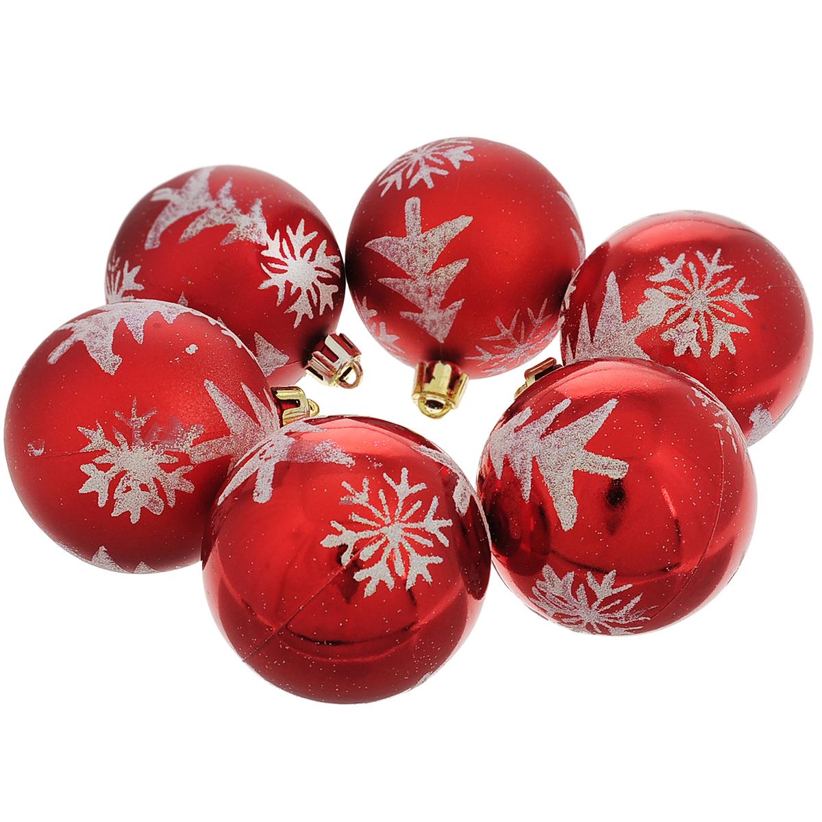 """Набор новогодних подвесных украшений """"Шар"""", цвет: красный, серебристый, диаметр 6 см, 6 шт. 35507"""