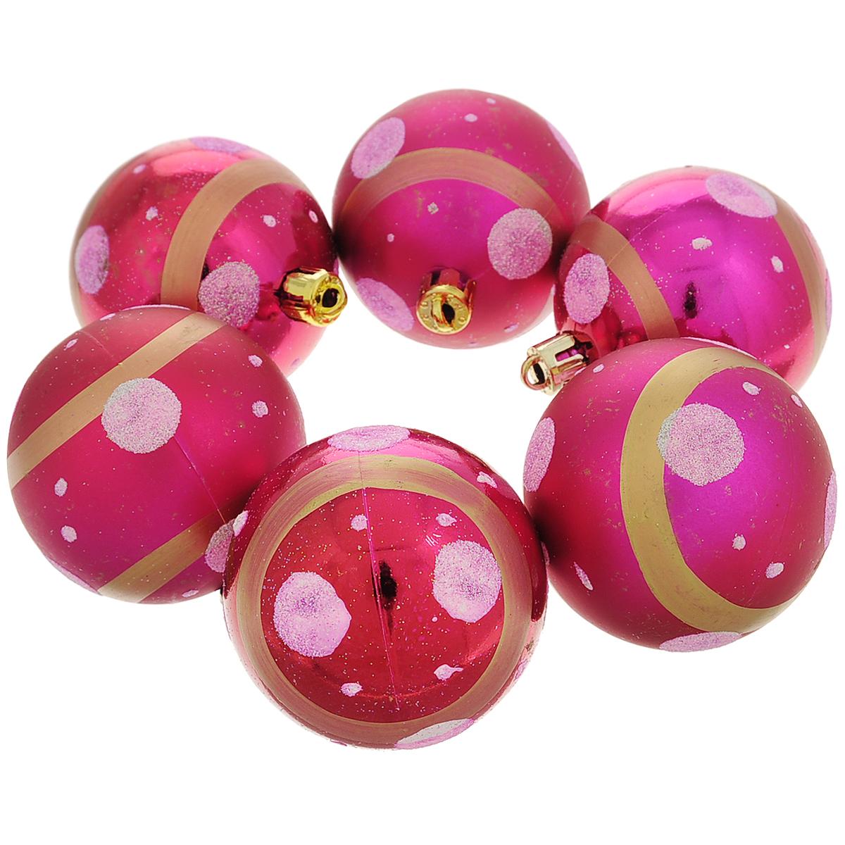 Набор новогодних подвесных украшений Шар, цвет: малиновый, диаметр 6 см, 6 шт. 3554206008A7401Набор новогодних подвесных украшений Шар прекрасно подойдет для праздничного декора новогодней ели. Состоит из шести шаров.Елочная игрушка - символ Нового года. Она несет в себе волшебство и красоту праздника. Создайте в своем доме атмосферу веселья и радости, украшая новогоднюю елку нарядными игрушками, которые будут из года в год накапливать теплоту воспоминаний. Коллекция декоративных украшений принесет в ваш дом ни с чем несравнимое ощущение волшебства! Откройте для себя удивительный мир сказок и грез. Почувствуйте волшебные минуты ожидания праздника, создайте новогоднее настроение вашим дорогим и близким.