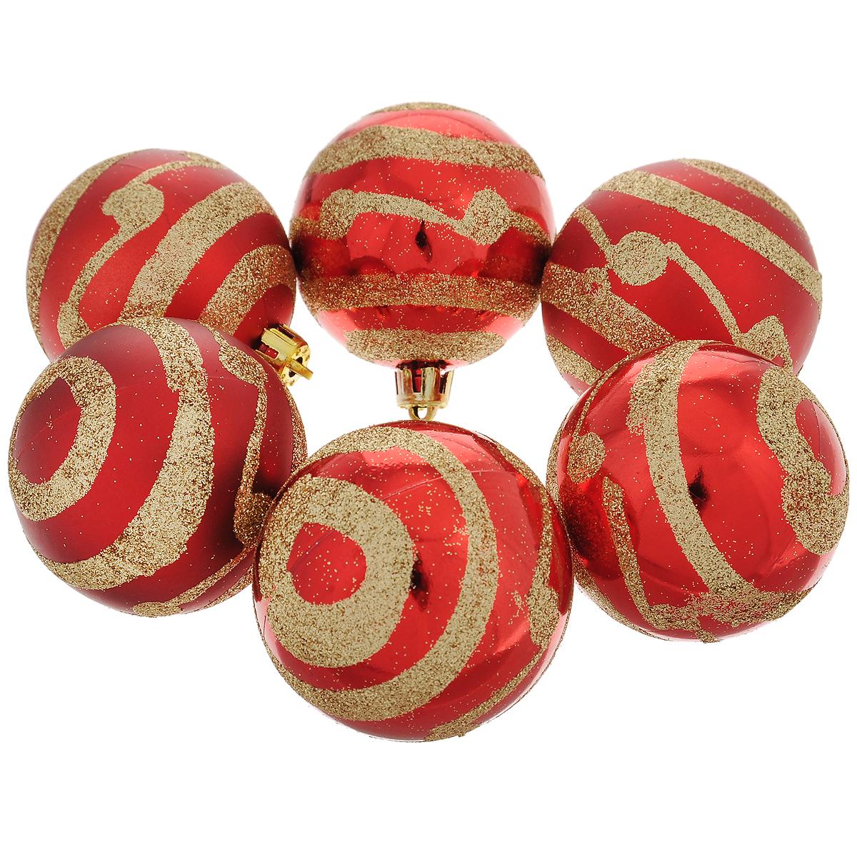 """Набор новогодних подвесных украшений """"Шар"""", цвет: золотистый, красный, диаметр 6 см, 6 шт. 35497"""
