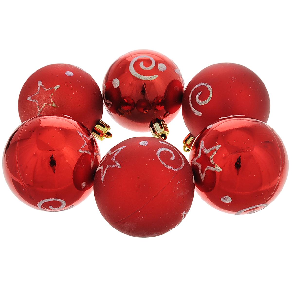 Набор новогодних подвесных украшений Шар, цвет: красный, серебристый, диаметр 6 см, 6 шт. 3550320141Набор новогодних подвесных украшений Шар прекрасно подойдет для праздничного декора новогодней ели. Состоит из шести шаров.Елочная игрушка - символ Нового года. Она несет в себе волшебство и красоту праздника. Создайте в своем доме атмосферу веселья и радости, украшая новогоднюю елку нарядными игрушками, которые будут из года в год накапливать теплоту воспоминаний. Коллекция декоративных украшений принесет в ваш дом ни с чем несравнимое ощущение волшебства! Откройте для себя удивительный мир сказок и грез. Почувствуйте волшебные минуты ожидания праздника, создайте новогоднее настроение вашим дорогим и близким.