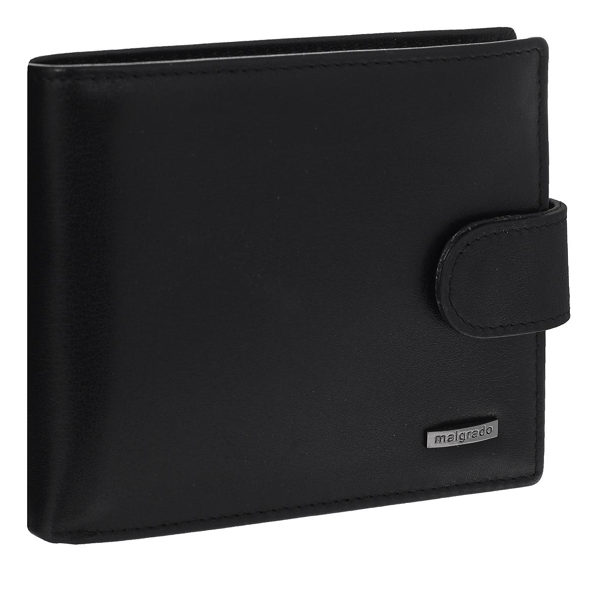 """Портмоне мужское Malgrado, цвет: черный. 36002-55D7301PI-53Универсальное портмоне Malgrado изготовлено из натуральной кожи. Внутри содержит три отделения для купюр, одно из которых на молнии, потайной кармашек, отсек для мелочи на кнопке, два кармана с прозрачным """"окошком"""" для пропуска или фотографии и три наборных кармашка для кредитных карт. Закрывается портмоне хлястиком на кнопку.Благодаря насыщенному цвету и лаконичному дизайну, такое портмоне подойдет любителям классических аксессуаров."""