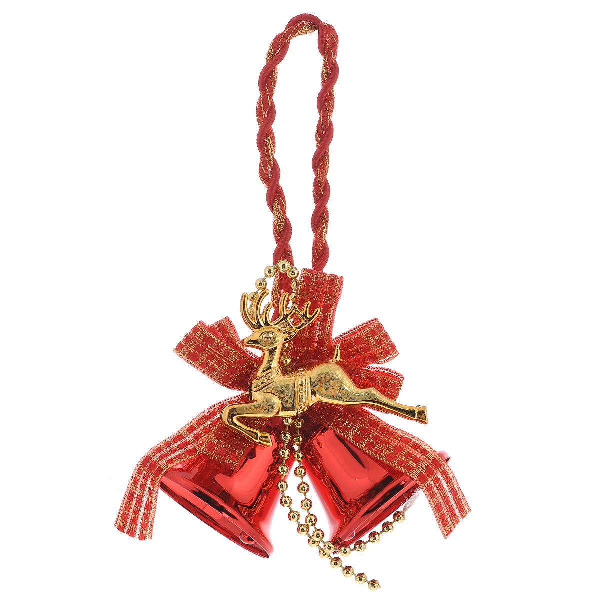 Новогоднее подвесное украшение Новогодние колокольчики, цвет: красный35492Оригинальное новогоднее украшение из пластика прекрасно подойдет для праздничного декора дома и новогодней ели. Изделие крепится на елку с помощью металлического зажима.