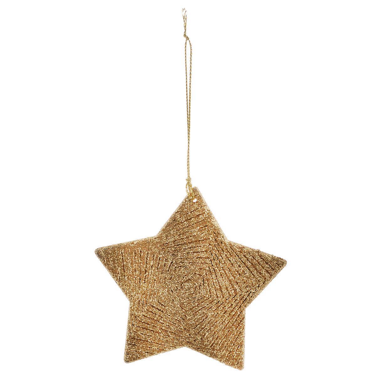 Новогоднее подвесное украшение Рождественская звезда, цвет: золотистый. 3497935495Оригинальное новогоднее украшение из пластика прекрасно подойдет для праздничного декора дома и новогодней ели. Изделие крепится на елку с помощью металлического зажима.