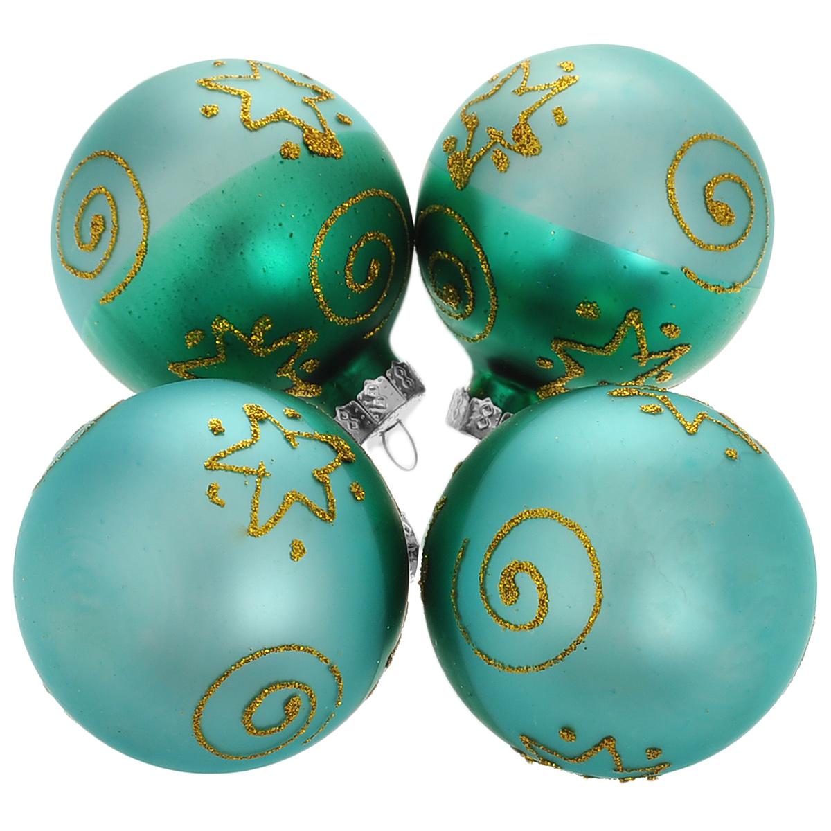 Набор новогодних подвесных украшений Шар, цвет: зеленый, золотистый, диаметр 6 см, 4 шт. 345021120297Набор новогодних подвесных украшений Шар прекрасно подойдет для праздничного декора новогодней ели. Состоит из четырех шаров.Елочная игрушка - символ Нового года. Она несет в себе волшебство и красоту праздника. Создайте в своем доме атмосферу веселья и радости, украшая новогоднюю елку нарядными игрушками, которые будут из года в год накапливать теплоту воспоминаний. Коллекция декоративных украшений принесет в ваш дом ни с чем несравнимое ощущение волшебства! Откройте для себя удивительный мир сказок и грез. Почувствуйте волшебные минуты ожидания праздника, создайте новогоднее настроение вашим дорогим и близким.