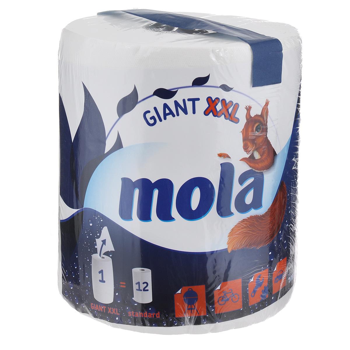 Полотенца бумажные Mola Giant, двухслойные, цвет: белый, 1 рулон2775Двухслойные бумажные полотенца Mola, выполненные из 100% целлюлозы, подарят превосходный комфорт и ощущение чистоты и свежести. Бумажные полотенца Mola - это незаменимый атрибут чистой кухни. Они просты в использовании, их не надо стирать и просто утилизировать. Специальное тиснение улучшает способность материала впитывать влагу, что позволяет полотенцам еще лучше справляться со своей работой. Натуральные материалы, используемые при изготовлении продукции Mola, безопасны для людей, животных и окружающей среды, не вызывают раздражения и аллергии и не оставляют мелкой бумажной пыли. Классические бумажные полотенца Mola могут использоваться не только на кухне, но и для других целей, поскольку отлично вытирают руки и убирают грязь с самых разных поверхностей. Стол, пол, подоконник - все будет чистым и свежим, а полотенце просто отправится в ведро. Большой упаковки полотенец хватит надолго. Один рулон Mola Giant включает в себя 12 стандартных рулонов.Товар сертифицирован.