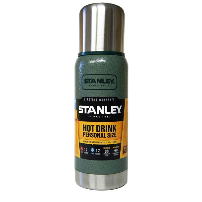 Термос Stanley Adventure, цвет: темно-зеленый, 0,5 лWS 7064Герметичный термос Stanley Adventure выполнен из высококачественной нержавеющей стали и обладает вакуумной изоляцией. Крышка изготовлена в виде термостакана объемом 236 мл. Термос удерживает тепло и сохраняет холод на протяжении 12 часов. Слив - через поворотную пробку.Стильный функциональный термос будет незаменим в дороге, на пикнике. Его можно взять с собой куда угодно, и вы всегда сможете наслаждаться горячим домашним напитком.