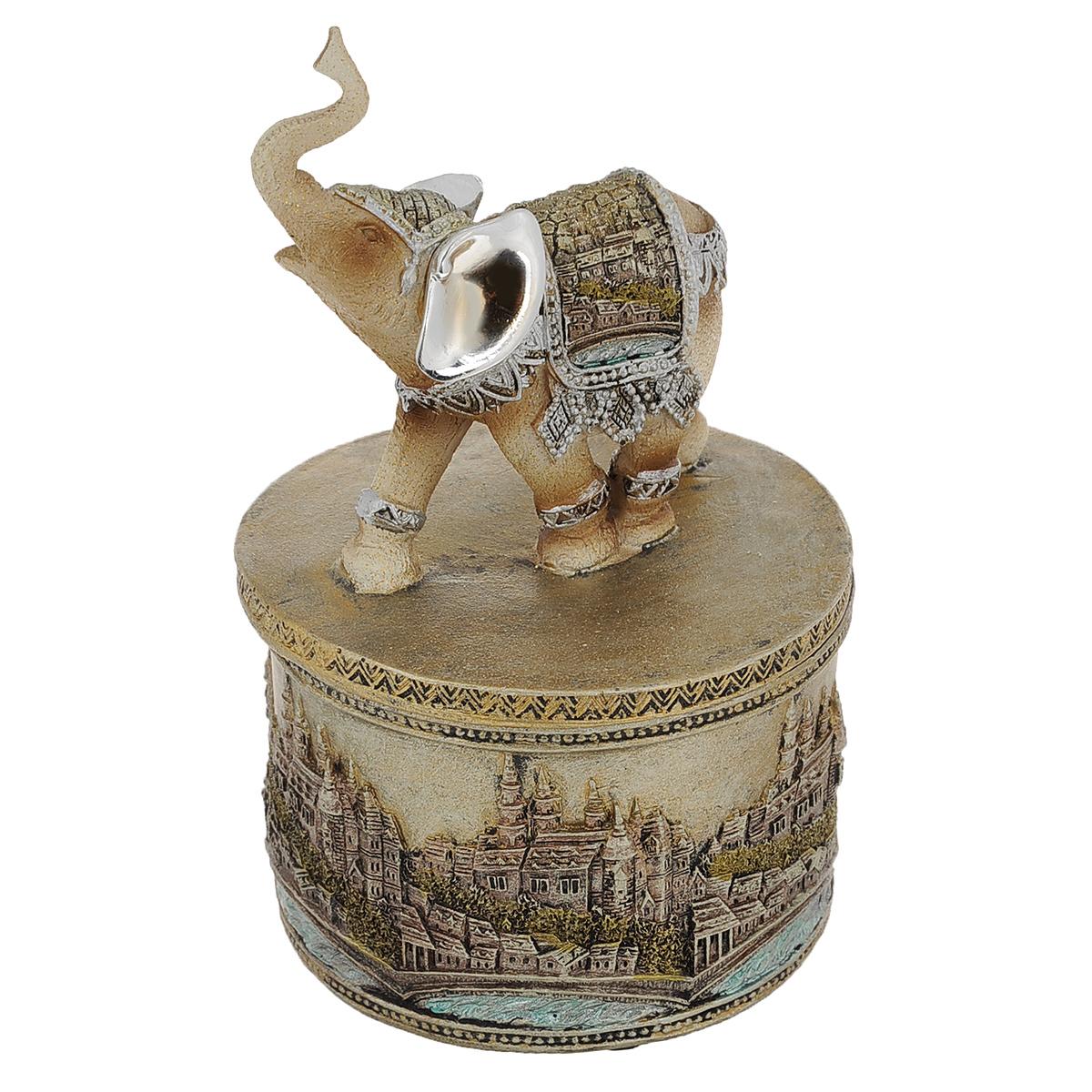 Статуэтка-шкатулка Molento Слон мира, высота 17,5 смKT400(4)Очаровательная статуэтка Molento Слон мира станет оригинальным подарком для всех любителей стильных вещей. Она выполнена из полистоунав серебристо-золотистых тонах в виде шкатулки, крышка которой оснащена ручкой в форме слона. Изысканный сувенир станет прекрасным дополнением к интерьеру. Вы можете поставить статуэтку в любом месте, где она будет удачно смотреться, и радовать глаз.