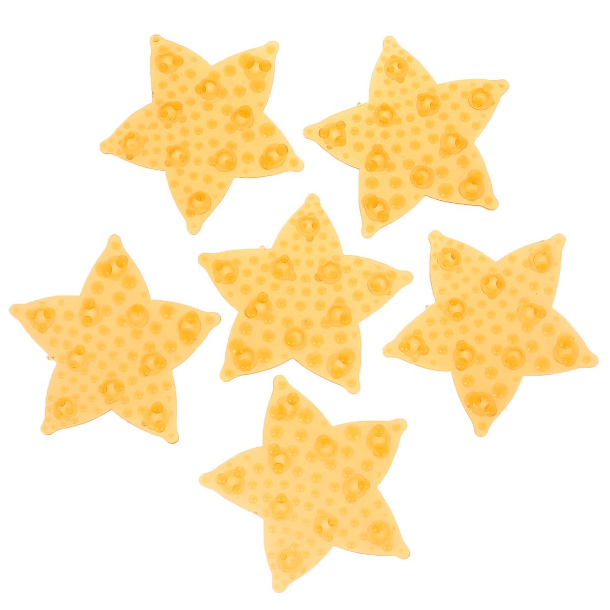 Набор мини-ковриков для ванной Dom Company Морская звезда перламутровая, цвет: оранжевый, 6 шт.68/5/3Набор Dom Company Морская звезда перламутровая состоит из шести мини-ковриков для ванной, изготовленных из 100% полимерных материалов в форме морских звезд. Коврики оснащены присосками, предотвращающими скольжение. Их можно крепить на дно ванны или использовать как декор для плитки. Коврики легко чистить.