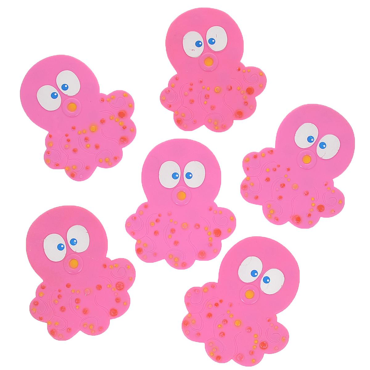 Набор мини-ковриков для ванной Dom Company Осьминог, цвет: розовый, 6 шт.74-0140Набор Dom Company Осьминог состоит из шести мини-ковриков для ванной, изготовленных из 100% полимерных материалов в форме забавных осьминогов. Коврики оснащены присосками, предотвращающими скольжение. Их можно крепить на дно ванны или использовать как декор для плитки. Коврики легко чистить.