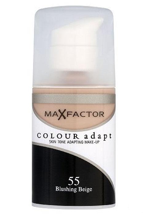 Max Factor Тональный крем Colour Adapt, тон 55 Blushing Beige (Бежевый), 34 млA6507600Тональная основа, которая поможет справиться с неровным тоном лица. Тональная основа Max Factor Colour Adapt адаптируется ктону кожи и создает естественное покрытие. Так в чемже секрет? «Умные частицы» тональной основы адаптируются ктону кожи, который отличается в разных зонах, обеспечивая невероятно легкое покрытие и не маскируя естественное свечение кожи. Тональная основа Max Factor Colour Adapt обеспечивает идеальный тон, кожа выглядит свежей и сияющей весь день. Инновационная технология для совершенства кожи. Помогает выровнять тон кожи, скрыть несовершенства и мелкие морщинки для создания идеального образа. Тональная основа Max Factor Colour Adapt имеет легкую формулу крем-пудры и подстраивается под любой тон кожи для удивительно естественного образа. Эмульсия на основе силикона и эластомера адаптируется ктону кожи и обеспечивает естественное умеренное покрытие для создания нежного и невесомого макияжа. Основа не содержит масел, подходит для чувствительной кожи, протестирована дерматологами, не закупоривает поры. Кремово-пудровая текстура для безупречного покрытия. Ультралегкая формула не сушит кожу. Содержит несколько цветовых пигментов, которые адаптируются ктону кожи. Не содержит масла, подходит для чувствительной кожи. Не закупоривает поры. Протестировано дерматологами.Сравни тон основы с тоном кожи на щеках и линии челюсти, чтобы подобрать идеальный оттенок. Если тон подобран правильно, то он буквально исчезнет на твоей коже. Чтобы достичь ровного покрытия, нанеси небольшое количество основы на тыльную сторону ладони и распредели по лицу кистью или кончиками пальцев. Нанеси небольшое количество на центральную часть лица и растушуй от центра кпериферии. Нанеси средство на веки и губы в качестве базы под тени и помаду.