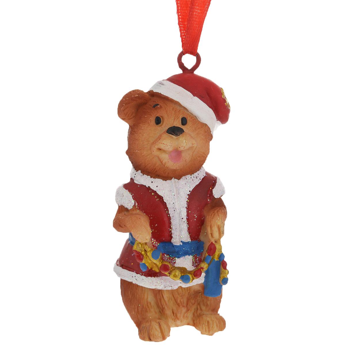 Новогоднее подвесное украшение Мишка в костюме Деда Мороза. 3459009840-20.000.00Оригинальное новогоднее украшение из пластика прекрасно подойдет для праздничного декора дома и новогодней ели. Изделие крепится на елку с помощью металлического зажима.