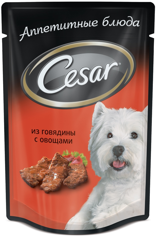 Консервы Cesar, для взрослых собак, с говядиной и овощами, 100 г