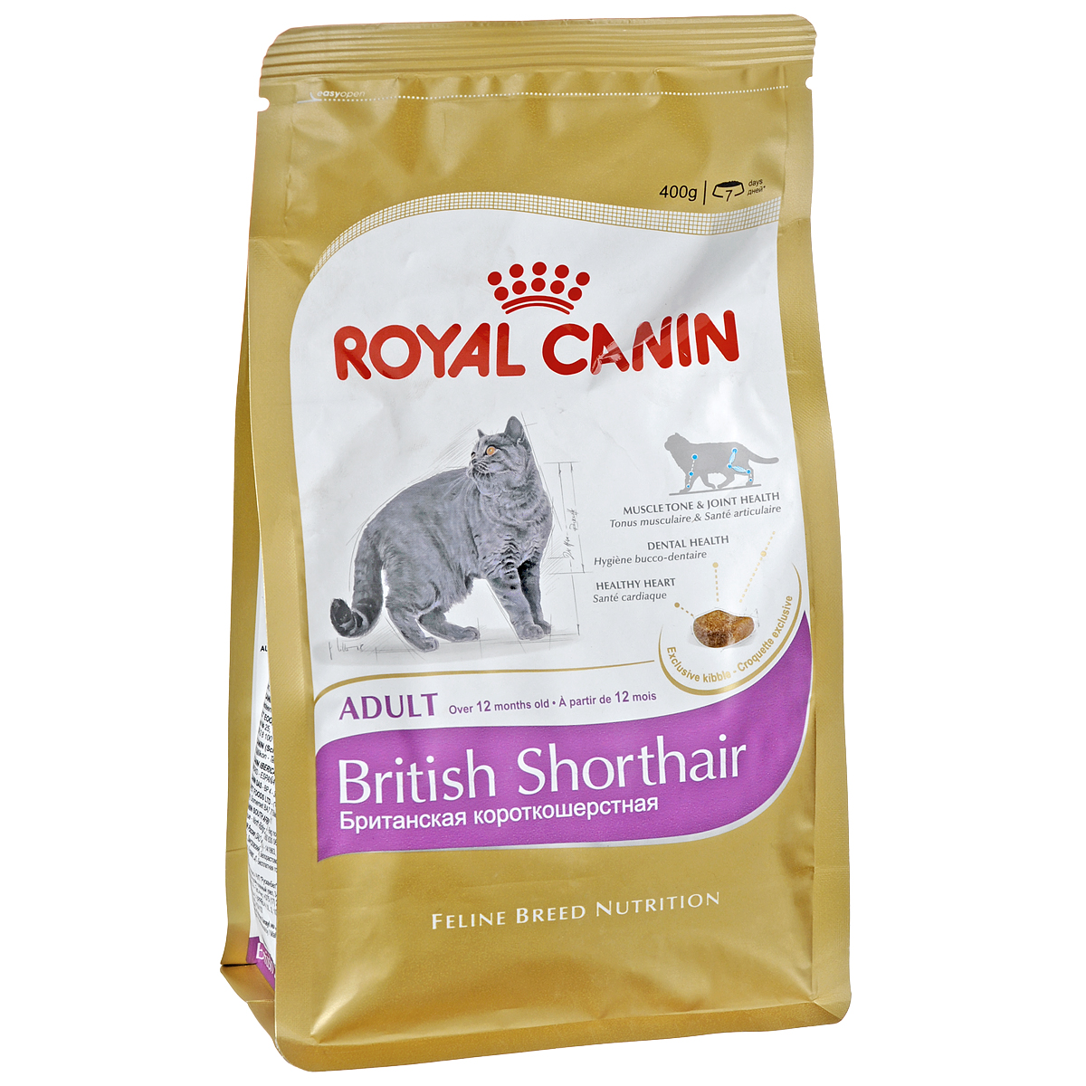 Корм сухой Royal Canin British Shorthair Adult, длябританских короткошерстных кошек старше 12 месяцев, 400 г6402Сухой корм Royal Canin British Shorthair Adult - полнорационный корм для британских короткошерстных кошек старше 12 месяцев.Британская короткошерстная кошка родом из Великобритании, что явствует из названия породы.Медленное разгрызание и поглощение корма: забота о гигиене ротовой полости. Чтобы кошка по возможности не проглатывала корм, не разгрызая, ей необходимы крокеты особой формы и размера — тогда их поедание будет более физиологичным. Это решает и проблему чистки зубов: таким образом поддерживается гигиена ротовой полости. Поддержание оптимальной формы. Мощные и коренастые, британские короткошерстные кошки испытывают повышенную нагрузку на суставы в сравнении с кошками меньшего веса.Крупное сердце — риск для здоровья. Эта порода имеет предрасположенность к сердечным заболеваниям. Соблюдение диетических рекомендаций — залог здоровья сердца! Мышечный тонус и здоровье суставов.У британской короткошерстной кошки мощное плотное телосложение, вследствие чего повышается нагрузка на суставы. Продукт BRITISH SHORTHAIR помогает поддерживать здоровье костей и суставов, а также оптимальную мышечную массу. Здоровье зубов.Уникальная форма и большие размеры крокет побуждают британских короткошерстных кошек тщательно разгрызать корм, за счет чего поддерживается гигиена ротовой полости.Здоровье сердца.Продукт обогащен таурином и жирными кислотами EPA и DHA. Специально для челюстей британских короткошерстных кошек.AMETHYST 12 — крокета, специально предназначенная для массивных челюстей британских короткошерстных кошек. Форма крокеты позволяет им легче захватывать и тщательно разгрызать корм.Состав: дегидратированное мясо птицы, изолят растительных белков, рис, кукуруза, животные жиры, кукурузная клейковина, растительная клетчатка, гидролизат белков животного происхождения, жом цикория, минеральные вещества, соевое масло, рыбий жир, фруктоолигосахариды, гидролизат дрож