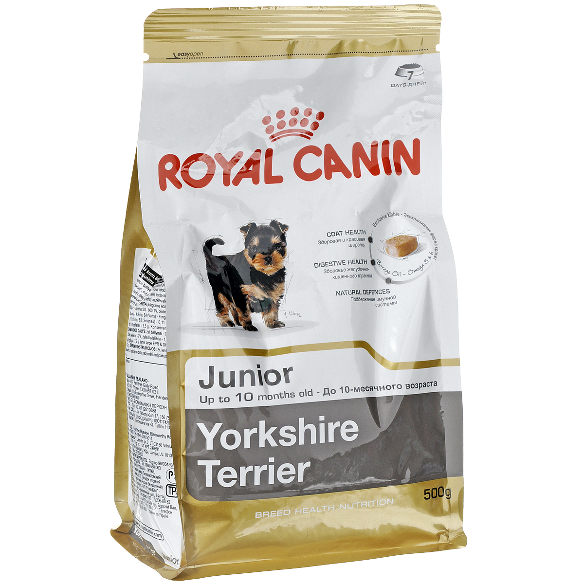 Корм сухой Royal Canin Yorkshire Terrier Junior, для щенков породы йоркширский терьер ввозрасте до 10 месяцев, 500 г3464Сухой корм Royal Canin Yorkshire Terrier Junior - полнорационный корм для щенков породы йоркширский терьер ввозрасте до 10 месяцев.Щенки йоркширского терьера подвержены риску многих заболеваний. Правильное питание и сбалансированная диета чаще всего помогают избежать неблагоприятного развития хрупкого в детстве щенка. Благодаря корму для щенков йорков Yorkshire Terrier Junior из небольшого и активного щенка вы легко вырастите аристократичного красивого взрослого пса.Здоровая шерсть.Эта эксклюзивная формула поддерживает здоровье и красоту шерсти йоркширского терьера. Корм обогащен жирными кислотами Омега-3 (EPA и DHA) и Омега-6, маслом бурачника и биотином. Безопасность пищеварения.Обеспечивает оптимальную безопасность пищеварения и поддерживает баланс кишечной флоры щенков йоркширского терьера.Надежная естественная защита.Корм позволяет обеспечить естественную защиту организма щенка йоркширского терьера.Профилактика образования зубного камня.Благодаря хелаторам кальция и специально подобранной текстуре крокет, которая оказывает чистящее воздействие, корм помогает ограничить образование зубного камня у щенков породы йоркширский терьер. Состав: дегидратированные белки животного происхождения (птица), рис, кукурузная мука, животные жиры, изолят растительных белков, свекольный жом, гидролизат белков животного происхождения, минеральные вещества, соевое масло, рыбий жир, дрожжи, фруктоолигосахариды, гидролизат дрожжей (источник мaннановых олигосахаридов), масло огуречника аптечного (0,1 %), экстракт бархатцев прямостоячих (источник лютеина).Добавки (в 1 кг): питательные добавки: Витамин A: 29500 ME, Витамин D3: 800 ME, Биотин: 3,07 мг, Железо: 49 мг, Йод: 4,9 мг, Марганец: 64 мг, Цинк: 192 мг, Ceлeн: 0,11 мг - Технологические добавки: Триполифосфат натрия: 3,5 г - Консервант: сорбат калия - Антиокислители: пропилгаллат, БГА. Товар сертифицирован.