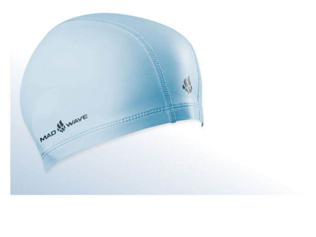 Шапочка для плавания Mad Wave PUT Coated, цвет: голубойSM938S-1054Текстильная шапочка Mad Wave PUT Coated с полиуретановым покрытием. Лучший выбор для ежедневных тренировок. Легкая и эргономичая. Легко снимается и надевается, хорошо садится по форме головы и очень комфортна, благодаря комбинации нескольких материалов.