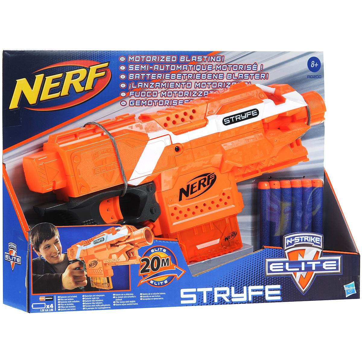 """Бластер Nerf """"Stryfe"""" позволит вашему ребенку почувствовать себя во всеоружии! Он выполнен из яркого безопасного пластика оранжевого цвета и снабжен обоймой на шесть патронов для суперскоростной стрельбы. Комплект включает в себя шесть патронов, выполненных из гибкого вспененного полимера. Бластер стреляет на расстояние до 20 метров. На нем имеется кнопка включения автоматической стрельбы и крепежная рейка. Игра с таким бластером поможет ребенку в развитии меткости, ловкости, координации движений и сноровки."""