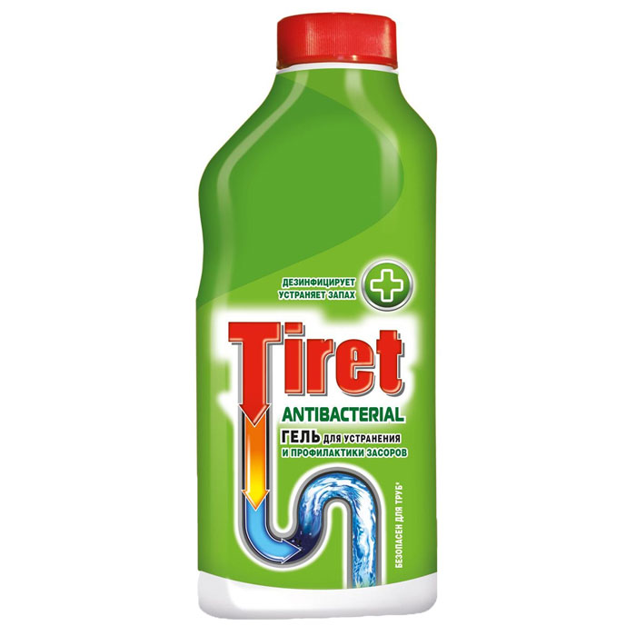 Гель для устранения и профилактики засоров Tiret, антибактериальный, 500 мл68/5/1Гель Tiret предназначен для устранения и профилактики засоров в канализационных трубах. Дезинфицирует, устраняет неприятные запахи. Устраняет засоры лучше, чем традиционные методы и средства. Густая структура геля позволяет продукту проникать глубоко в трубу даже при наличии воды в раковине. Подходит для профилактики появления засоров. Идеально подходит и безопасен для всех видов металлических и пластиковых труб.