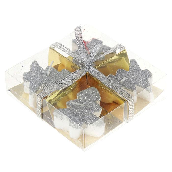 Набор свечей декоративных Sima-land Елочка, цвет: серебристый, 4 шт. 262566 набор декоративных свечей sima land нежность 2 шт 825709