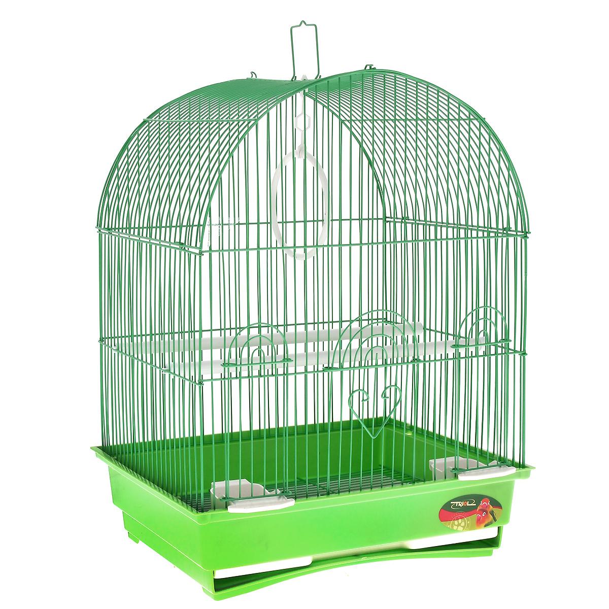 Клетка для птиц, цвет: зеленый, 35 см х 28 см х 46 см0120710Клетка для птиц, выполненная из пластика и металла с эмалированным покрытием, предназначена для мелких птиц. Изделие состоит из большого поддона и решетки. Клетка снабжена металлической дверцей и двумя окошками, которые открываются и закрываются движением вверх-вниз. В основании клетки находится малый выдвижной поддон с металлической решеткой сверху. Поддон удобно и легко чистить, так как он выдвигается из клетки, не беспокоя питомца. Клетка также оснащена двумя кормушками, двумя жердочками, кольцом для птицы и ручкой для переноски. Комплектация: - клетка, - малый поддон с решеткой, - кормушка: 2 шт, - жердочка: 2 шт, - кольцо: 1 шт.Размер клетки: 35 см х 28 см х 46 см.