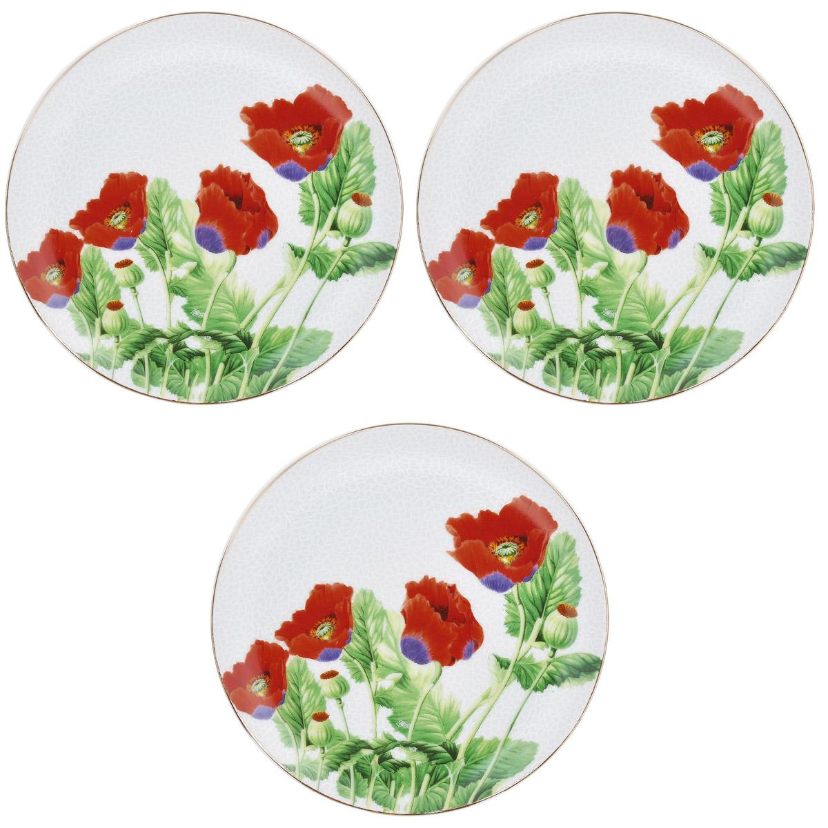 Набор тарелок Briswild Цветы мака, диаметр 18,5 см, 3 шт. 545-7658466BHNEWНабор тарелок Briswild Цветы мака, выполненный из высококачественного фарфора, состоит из 3 тарелок. Тарелки оформлены изысканным рисунком в виде мака. Они сочетают в себе изысканный дизайн с максимальной функциональностью. Оригинальность оформления тарелок придется по вкусу и ценителям классики, и тем, кто предпочитает утонченность и изящность. Набор тарелок Briswild Цветы мака послужит отличным подарком к любому празднику. Не использовать в СВЧ печах. Не применять абразивные чистящие вещества.