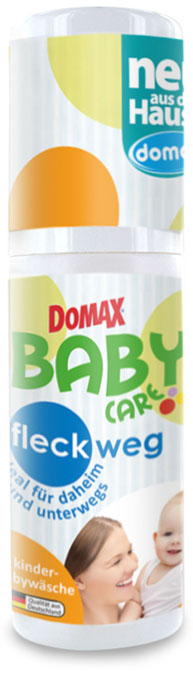Пятновыводитель Domax Baby Care для детского белья, гипоаллергенный, 100 млK100Пятновыводитель для детского белья. Нежность и забота, чистота и комфорт. Забота о детском здоровье. Рекомендовано к использованию с первых дней жизни ребёнка! Пятновыводитель Domax Baby Care быстро и легко удаляет всевозможные пятна и загрязнения, такие как пятна от фруктовых и овощных соков, травы, какао, чая, детского питания. Великолепно справляется с любыми, даже самыми стойкими загрязнениями. Отлично подходит для белых и цветных тканей хлопковых, а также тонких и деликатных тканей.Обеспечивает абсолютную гигиеничность детскому белью. Безопасен для здоровья ребенка - не содержит отбеливателей и красителей! Благодаря особенно мягкой и деликатной формуле бережно относится к коже. Отличный вариант для ухода за одеждой дома, в дороге и на прогулках! Способ применения: Средство нанести напрямую на свежее пятно с помощью встроенной губки и дать 15 минут подействовать, затем стереть остатки влажным полотенцем. При необходимости повторить. Средство нанести на уже высохшее пятно и дать 20 минут подействовать, затем стирать как обычно. Соблюдайте рекомендации по уходу за тканями, содержащимися на этикетке. Состав (согласно нормам ЕС): 5-15% неионные ПАВ, менее 5% фосфонаты, энзимы, консерванты, душистые вещества.Товар сертифицирован.