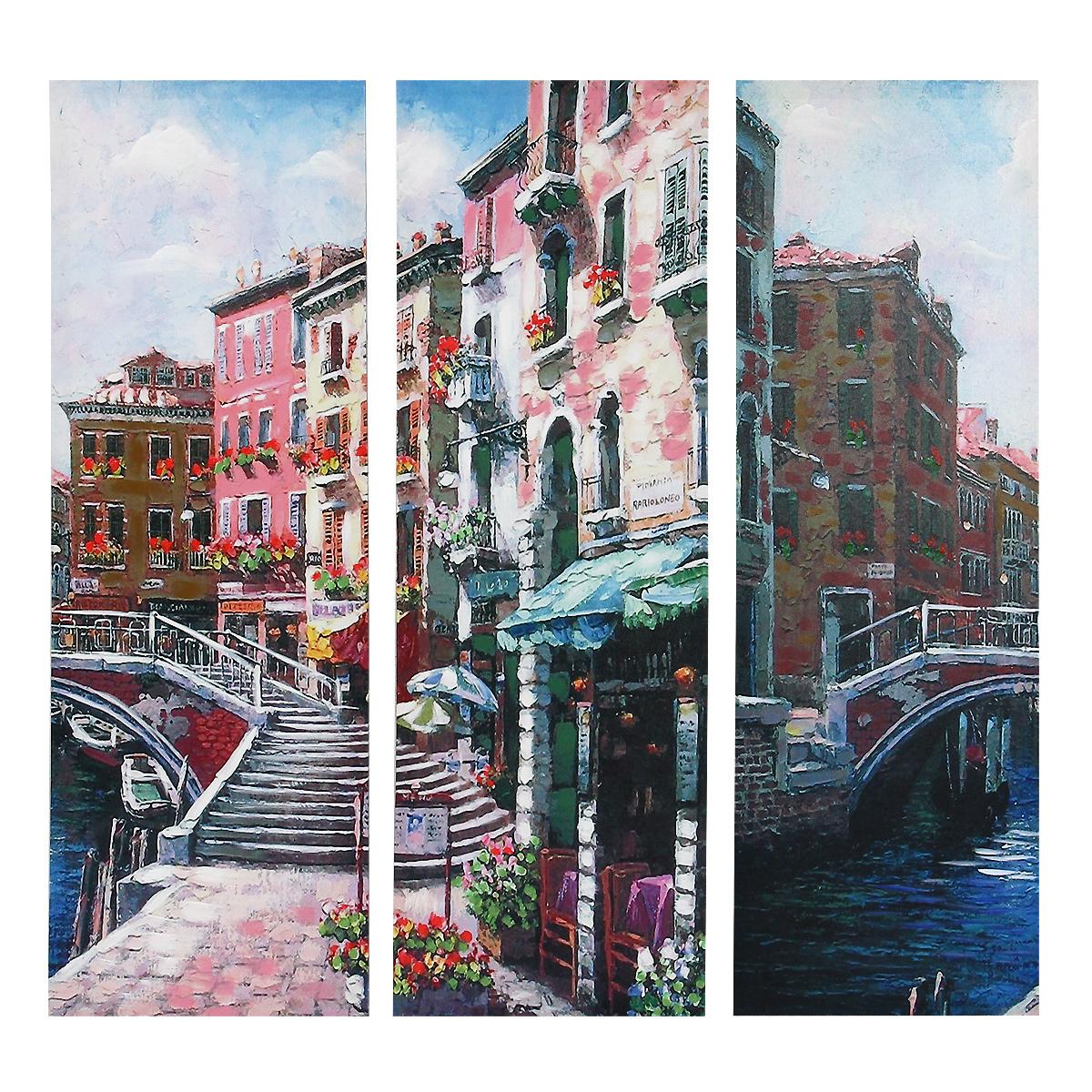 Картина-репродукция без рамки Городской пейзаж, 78 х 80 х 2,5 см 3602625x40 OZ160-50601Картина-репродукция без рамки Городской пейзаж выполнена из натуральной древесины. Техника выполнения - масляная печать на холсте с ручной подрисовкой. Картина состоит из трех частей с красочным изображением улочек города. Такая картина - вдохновляющее декоративное решение, привносящее в интерьер нотки творчества и изысканности! Благодаря оригинальному дизайну картина дополнит интерьер любого помещения, а также сможет стать изысканным подарком для ваших друзей и близких.