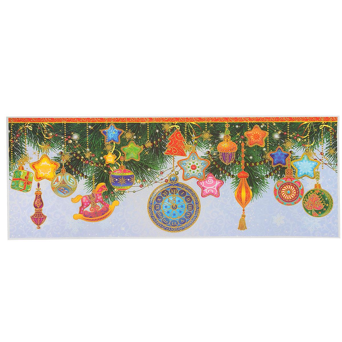 Новогоднее оконное украшение Елочные игрушки. 3436034360Новогоднее оконное украшение, изготовленное из пленки ПВХ, поможет украсить дом к предстоящим праздникам. Яркие изображения в виде елочных игрушек, снежинок и ветвей ели, нанесены на прозрачную пленку и крепятся к гладкой поверхности стекла посредством статического эффекта. Рисунки декорированы золотистыми блестками. С помощью этих украшений вы сможете оживить интерьер по своему вкусу. Новогодние украшения всегда несут в себе волшебство и красоту праздника. Создайте в своем доме атмосферу тепла, веселья и радости, украшая его всей семьей.