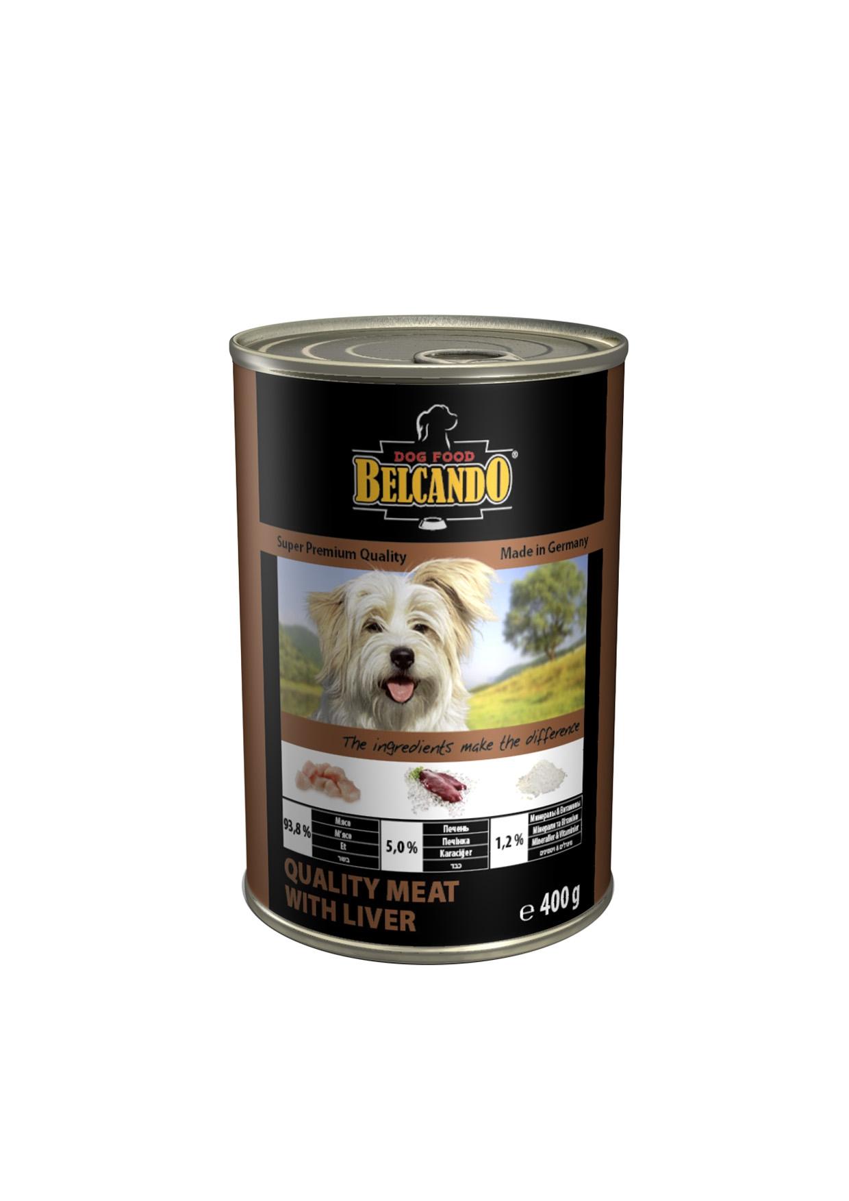 Консервы для собак Belcando, с мясом и печенью, 400 г0120710Консервы Belcando - это полнорационное влажное питание для собак. Подходят для собак всех возрастов. Комбинируется с любым типом корма, в том числе с натуральной пищей. Состав: мясо 93,8%, печень 5%, витамины и минералы 1,2%. Анализ состава: протеин 14 %, жир 5,5 %, клетчатка 0,2 %, зола 2 %, влажность 79 %, витамин А 2,500 МЕ/кг, витамин Е 40 мг/кг, витамин D3 250 МЕ/кг, кальций 0,4 %, фосфор 0,16 %.Вес: 400 г.Товар сертифицирован.