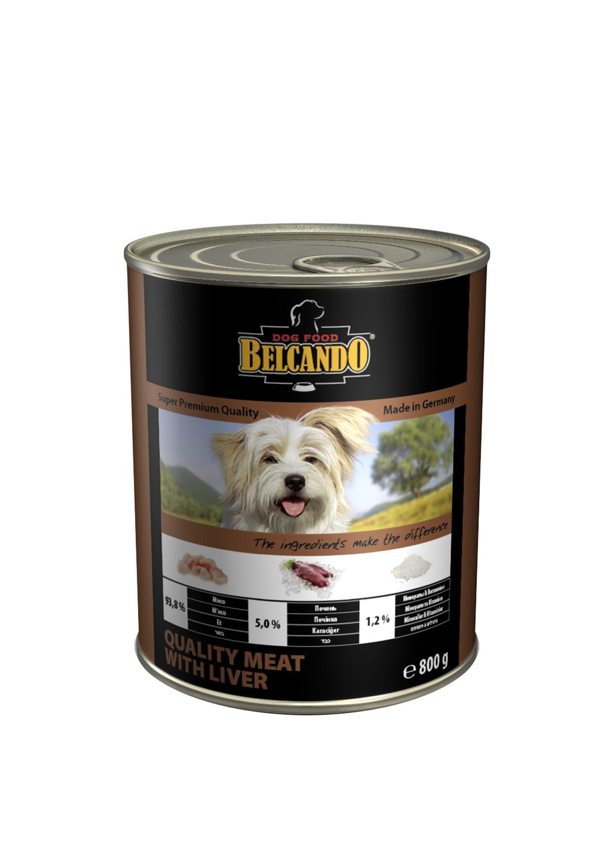 Консервы для собак Belcando, с мясом и печенью, 800 г0120710Консервы Belcando - это полнорационное влажное питание для собак. Подходят для собак всех возрастов. Комбинируется с любым типом корма, в том числе с натуральной пищей. Состав: мясо 93,8%, печень 5%, витамины и минералы 1,2%. Анализ состава: протеин 14 %, жир 5,5 %, клетчатка 0,2 %, зола 2 %, влажность 79 %, витамин А 2,500 МЕ/кг, витамин Е 40 мг/кг, витамин D3 250 МЕ/кг, кальций 0,4 %, фосфор 0,16 %.Вес: 800 г.Товар сертифицирован.