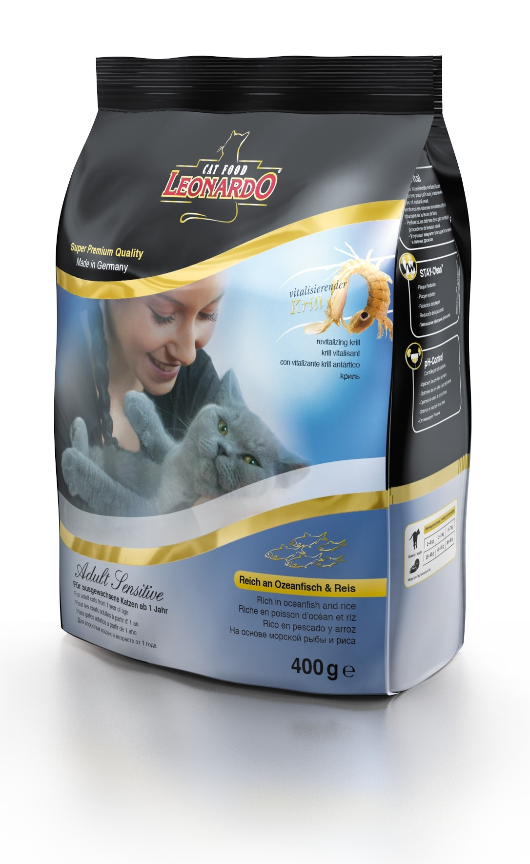 Корм сухой Leonardo Adult Sensetive для взрослых кошек от 1 года, на основе морской рыбы и риса, 400 г48812Сухой корм Leonardo Adult Sensetive предназначен для взрослых кошек с чувствительным пищеварением. С добавлением вкусного криля (креветок). За счет высокого содержания Омега-3 и Омега-6 жирных кислот улучшает качество кожи ишерсти. Снижает образование зубного камня и зубного налета. Корм обладает профилактикой мочекаменной болезни и подходит для кастрированных/стерилизованных котов и кошек.Состав: мука сельди 17%, сухое мясо птицы пониженной зольности 15%, рис 15%, кукуруза, жир домашней птицы, морепродукты (криль 4%), рожь, яичный порошок, пивные дрожжи 2,5%, гидролизат печени птицы, вытяжка из виноградной косточки, цареградский сухой стручок 1,25%, льняное семя, поваренная соль, инулин.Добавки: витамин А 15000 МЕ, витамин D3 1500 МЕ, витамин Е 150 мг, витамин C (как аскорбил монофосфаты) 245 мг, таурин 1400 мг, медь (как медь-(ll)-сульфат, пентагидрат) 15 мг, железо (в форме железа ll сульфат) 200 мг, железо (в форме оксид железа lll) 385 мг, марганец (как двуокись марганца) 50 мг, цинк (как окись цинка) 150 мг, йод (как йодат кальция) 2,5 мг, селен (в форме селен натрия) 0,15 мг, лецитин 2000 мг, экстракты натурального происхождения с высоким содержанием токоферола (= натуральный витамин Е) 80 мг.Содержание: протеин 32%, жиры 20%, сырая зола 7,5%, клетчатка 1,9%, влага 10%, кальций 1,1%, фосфор 0,9%, натрий 0,4%, магний 0,09%.Товар сертифицирован.
