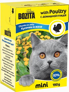 Консервы для кошек Bozita mini, мясные кусочки в желе, с домашней птицей, 190 г0120710Консервы Bozita mini - это полнорационное влажное питание супер премиум класса для кошек. Содержит 93% свежего шведского мяса, которое никогда не было заморожено. Состав: 93% свежего мяса: курица, индейка (4% в каждом кусочке), свинина, карбонат кальция, дрожжи MacroGard. Добавки на кг: витамин А 2000 МЕ, витамин D3 200 МЕ, витамин Е 12 мг, таурин 700 мг, медь 2 мг (сульфат меди-(II), пентагидрат), марганец 1,8 мг (оксид марганца -II и -III), цинк 14 мг (сульфат цинка, моногидрат), йод 0,1 мг (йодат кальция, моногидрат). Анализ: белок 8,5%, жир 4,5%, клетчатка 0,5%, зола 2,3% (кальций 0,35%, фосфор 0,3%, магний 0,02%), влага 83%. Энергетическая ценность: 280 кДж/100г. Вес: 190 г.Товар сертифицирован.