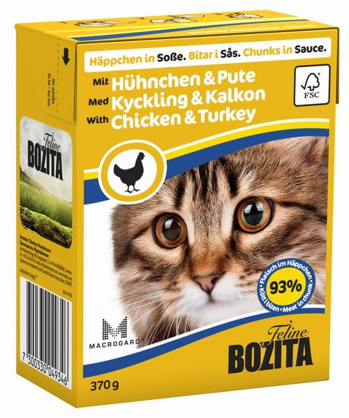 Консервы для кошек Bozita Feline, с курицей и индейкой в соусе, 370 г0120710Консервы Bozita Feline - это полнорационное влажное питание премиум класса для кошек. Содержит 93% свежего шведского мяса, которое никогда не было заморожено. Состав: курица (85% в порции), индейка (7,2% в порции), говядина, свинина, карбонат кальция, дрожжи MacroGard. Добавки на кг: витамин А 2000МЕ, витамин D3 200МЕ, витамин Е 12 мг, таурин 700 мг, медь 2 мг (сульфат меди-(II), пентагидрат), марганец 1,8 мг (оксид марганца -II и -III), цинк 14 мг (сульфат цинка, моногидрат), йод 0,1 мг (йодат кальция, моногидрат). Содержит все витамины и минералы, в которых нуждается ваш питомец. Анализ состава: белок 8,5%, жир 4,5%, клетчатка 0,5%, минеральные вещества (сырая зола 2,3%, кальций 0,35%, фосфор 0,3%, магний 0,02%), влага 83%. Продукт не содержит ГМО. Энергетическая ценность: 290 кДж/100г. Вес: 370 г.Товар сертифицирован.