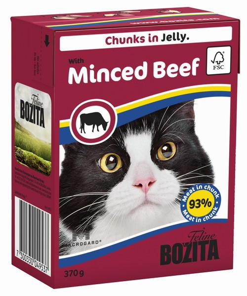 Консервы для кошек Bozita Feline, с рубленой говядиной в желе, 370 г0120710Консервы Bozita Feline - это полнорационное влажное питание премиум класса для кошек. Содержит 93% свежего шведского мяса, которое никогда не было заморожено. Состав: курица, говядина (6% в порции), свинина, карбонат кальция, дрожжи (бета-1,3 / 1,6-глюкан 0,01%). Добавки на кг: витамин А 2000МЕ, витамин D3 200МЕ, витамин Е 12 мг, таурин 700 мг, медь 2 мг (сульфат меди-(II), пентагидрат), марганец 1,8 мг (оксид марганца -II и -III), цинк 14 мг (сульфат цинка, моногидрат), йод 0,1 мг (йодат кальция, моногидрат). Содержит все витамины и минералы, в которых нуждается ваш питомец.Анализ состава: белок 8,5%, жир 4,5%, клетчатка 0,5%, минеральные вещества (сырая зола 2,3%, кальций 0,35%, фосфор 0,3%, магний 0,02%), влага 83%. Продукт не содержит ГМО. Энергетическая ценность: 290 кДж/100г. Вес: 370 г.Товар сертифицирован.