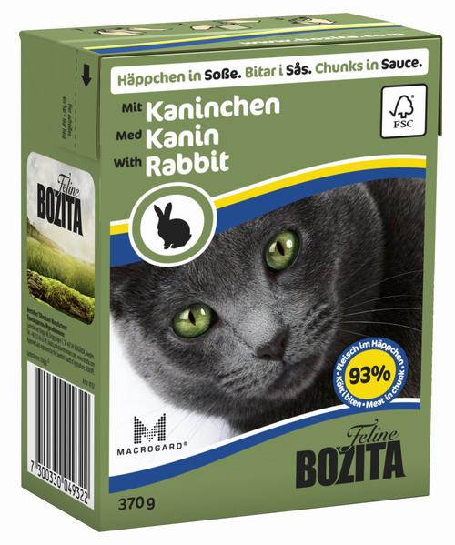 Консервы для кошек Bozita Feline, с кроликом в соусе, 370 г0120710Консервы Bozita Feline - это полнорационное влажное питание премиум класса для кошек. Содержит 93% свежего шведского мяса, которое никогда не было заморожено. Состав: курица, кролик (7,2% в кусочке), говядина, свинина, карбонат кальция, дрожжи Macrogard. Добавки на кг: витамин А 2000МЕ, витамин D3 200МЕ, витамин Е 12 мг, таурин 700 мг, медь 2 мг (сульфат меди-(II), пентагидрат), марганец 1,8 мг (оксид марганца -II и -III), цинк 14 мг (сульфат цинка, моногидрат), йод 0,1 мг (йодат кальция, моногидрат). Содержит все витамины и минералы, в которых нуждается ваш питомец.Анализ состава: белок 8,5%, жир 4,5%, клетчатка 0,5%, минеральные вещества (сырая зола 2,3%, кальций 0,35%, фосфор 0,3%, магний 0,02%), влага 83%. Продукт не содержит ГМО. Энергетическая ценность: 290 кДж/100г. Вес: 370 г.Товар сертифицирован.