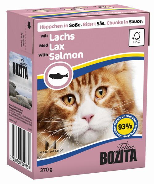 Консервы для кошек Bozita Feline, с лососем в желе, 370 г0120710Консервы Bozita Feline - это полнорационное влажное питание премиум класса для кошек. Содержит 93% свежего шведского мяса, которое никогда не было заморожено. Состав: курица, лосось (7,2% в кусочке), свинина, говядина, карбонат кальция, укроп, дрожжи. Добавки на кг: витамин А 2000МЕ, витамин D3 200МЕ, витамин Е 12 мг, таурин 700 мг, медь 2 мг (сульфат меди-(II), пентагидрат), марганец 1,8 мг (оксид марганца -II и -III), цинк 14 мг (сульфат цинка, моногидрат), йод 0,1 мг (йодат кальция, моногидрат). Содержит все витамины и минералы, в которых нуждается ваш питомец. Анализ состава: белок 8,5%, жир 4,5%, клетчатка 0,5%, минеральные вещества (сырая зола 2,3%, кальций 0,35%, фосфор 0,3%, магний 0,02%), влага 83%. Продукт не содержит ГМО. Энергетическая ценность: 290 кДж/100г. Вес: 370 г.Товар сертифицирован.