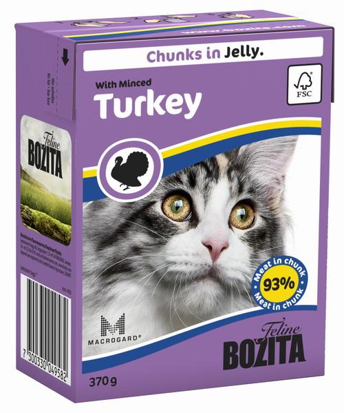 Консервы для кошек Bozita Feline, с рубленой индейкой в желе, 370 г0120710Консервы Bozita Feline - это полнорационное влажное питание премиум класса для кошек. Содержит 93% свежего шведского мяса, которое никогда не было заморожено. Состав: курица, индейка (7,2% в порции), говядина, свинина, карбонат кальция, дрожжи MacroGard. Добавки на кг: витамин А 2000МЕ, витамин D3 200МЕ, витамин Е 12 мг, таурин 700 мг, медь 2 мг (сульфат меди-(II), пентагидрат), марганец 1,8 мг (оксид марганца -II и -III), цинк 14 мг (сульфат цинка, моногидрат), йод 0,1 мг (йодат кальция, моногидрат). Содержит все витамины и минералы, в которых нуждается ваш питомец. Специальные добавки на кг: кассия десен 1180 мг.Анализ состава: белок 8,5%, жир 4,5%, клетчатка 0,5%, минеральные вещества (сырая зола 2,3%, кальций 0,35%, фосфор 0,3%, магний 0,02%), влага 83%. Продукт не содержит ГМО. Энергетическая ценность: 290 кДж/100г. Вес: 370 г.Товар сертифицирован.