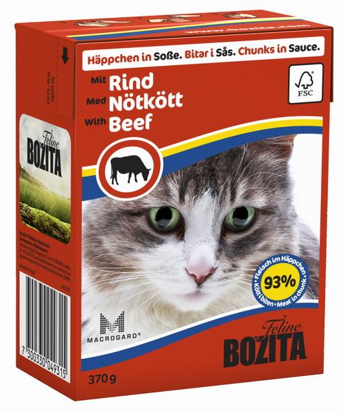 Консервы для кошек Bozita Feline, с говядиной в соусе, 370 г0120710Консервы Bozita Feline - это полнорационное влажное питание премиум класса для кошек. Содержит 93% свежего шведского мяса, которое никогда не было заморожено. Состав: курица, говядина (6% в порции), свинина, карбонат кальция, укроп, дрожжи MacroGard. Добавки на кг: витамин А 2000МЕ, витамин D3 200МЕ, витамин Е 12 мг, таурин 700 мг, медь 2 мг (сульфат меди-(II), пентагидрат), марганец 1,8 мг (оксид марганца -II и -III), цинк 14 мг (сульфат цинка, моногидрат), йод 0,1 мг (йодат кальция, моногидрат). Содержит все витамины и минералы, в которых нуждается ваш питомец. Анализ состава: белок 8,5%, жир 4,5%, клетчатка 0,5%, минеральные вещества (сырая зола 2,3%, кальций 0,35%, фосфор 0,3%, магний 0,02%), влага 83%. Продукт не содержит ГМО. Энергетическая ценность: 290 кДж/100г. Вес: 370 г.Товар сертифицирован.