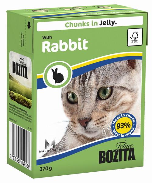 Консервы для кошек Bozita Feline, с кроликом в желе, 370 г0120710Консервы Bozita Feline - это полнорационное влажное питание премиум класса для кошек. Содержит 93% свежего шведского мяса, которое никогда не было заморожено. Состав: курица, кролик (7,2% в порции), говядина, свинина, карбонат кальция, дрожжи. Добавки на кг: вит. А 2000МЕ, вит. D3 200МЕ, вит. Е 12 мг, таурин 700 мг, медь 2 мг (сульфат меди-(II), пентагидрат), марганец 1,8 мг (оксид марганца -II и -III), цинк 14 мг (сульфат цинка, моногидрат), йод 0,1 мг (йодат кальция, моногидрат). Содержит все витамины и минералы, в которых нуждается ваш питомец.Анализ: белок 8,5%, жир 4,5%, клетчатка 0,5%, минеральные вещества (сырая зола) 2,3% (кальций 0,35%, фосфор 0,3%, магний 0,02%), влага 83%. Продукт не содержит ГМО. Энергетическая ценность: 290 кДж/100г.Вес: 370 г.Товар сертифицирован.