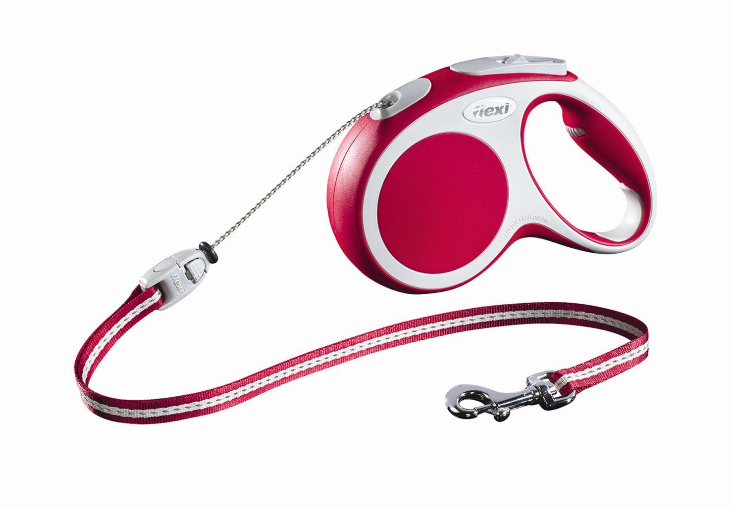 Поводок-рулетка Flexi Vario Basic М для собак до 20 кг, цвет: красный, 5 м0120710Поводок-рулетка Flexi Vario Basic М изготовлен из пластика и нейлона. Тросовый поводок обеспечивает каждой собаке свободу движения, что идет на пользу здоровью и радует вашего четвероногого друга. Рулетка очень проста в использовании, оснащена кнопками кратковременной и постоянной фиксации. Ее можно оснастить - мультибоксом для лакомств или пакетиков для сбора фекалий, LED подсветкой корпуса, своркой или ремнем с LED подсветкой. Поводок имеет прочный корпус, хромированную застежку и светоотражающие элементы.Длина поводка: 5 м. Максимальная нагрузка: 20 кг.Товар сертифицирован.